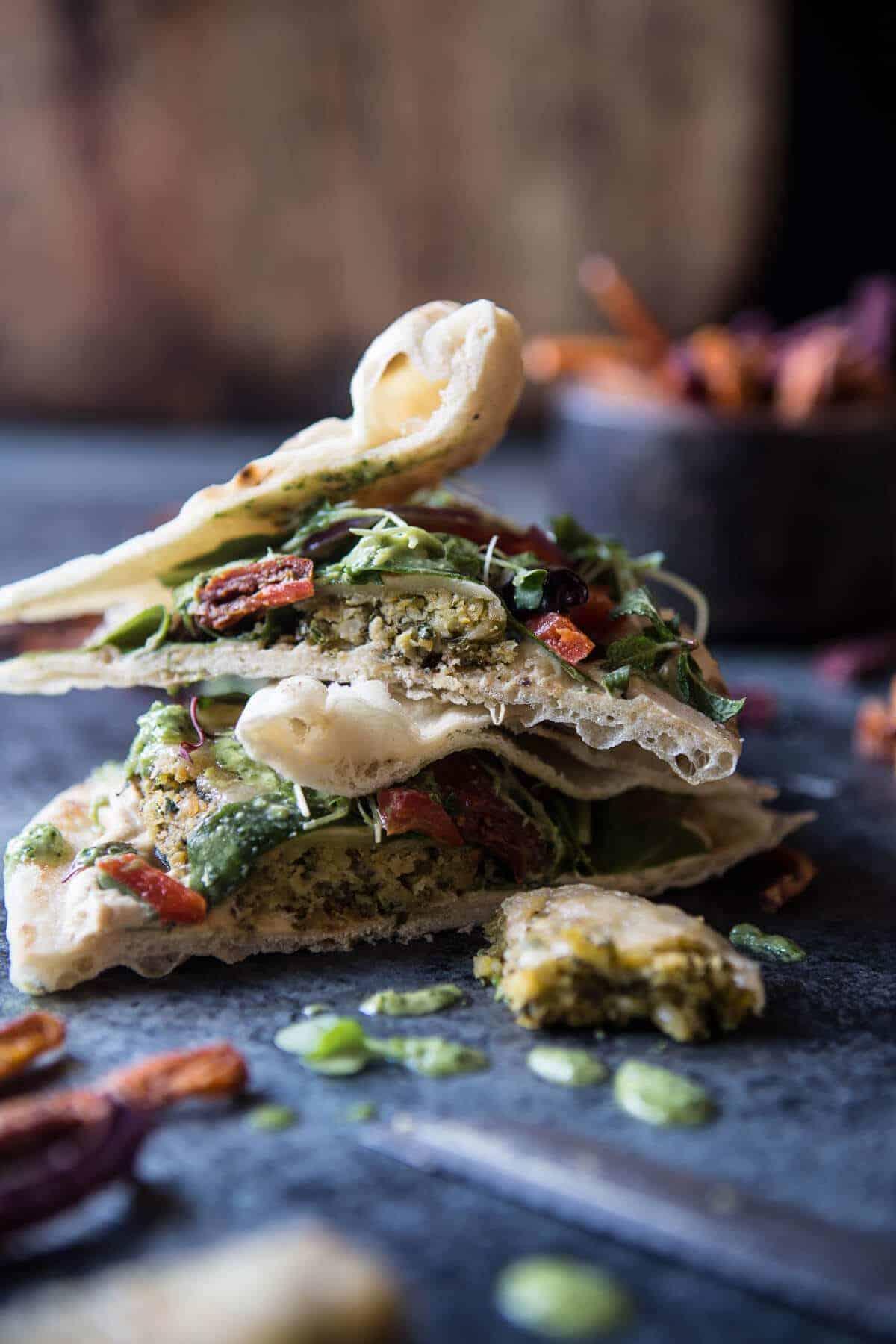 Greek Falafel Melts with Green Tahini Special Sauce | halfbakedharvest.com @hbharvest