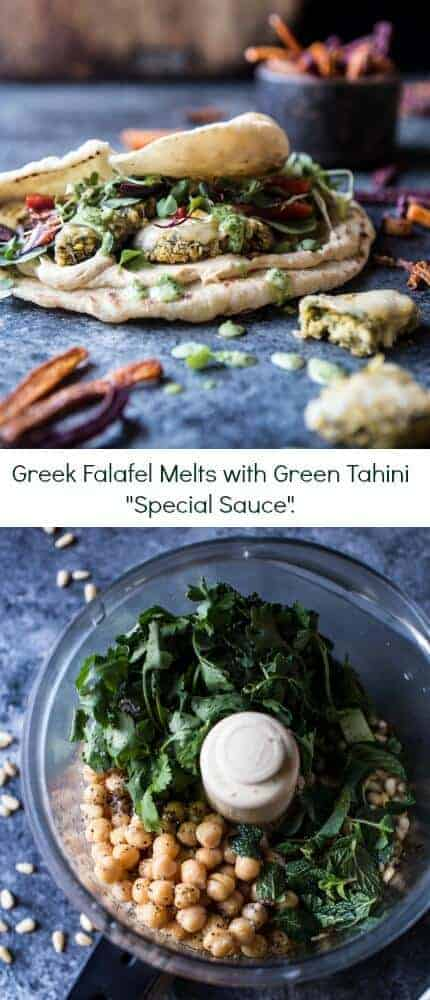 Greek Falafel Melts with Green Tahini Special Sauce | halfbakedharvest.com @hbharvest