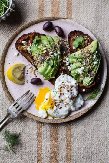 Mediterranean Inspired Avocado Toast with Pistachio Dukkah.