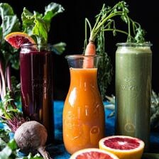 Red's 3 Favorite Winter Juices and Smoothies: Protein Packed Matcha Smoothie/Citrus Beet Juice/Tropical Carrot Juice.