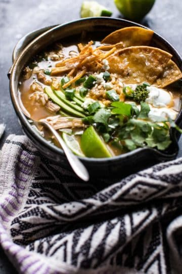 Salsa Verde Chicken and Rice Tortilla Soup + Video.