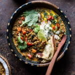 Simple Coconut Quinoa and Lentil Curry with Lime Mango + Video.