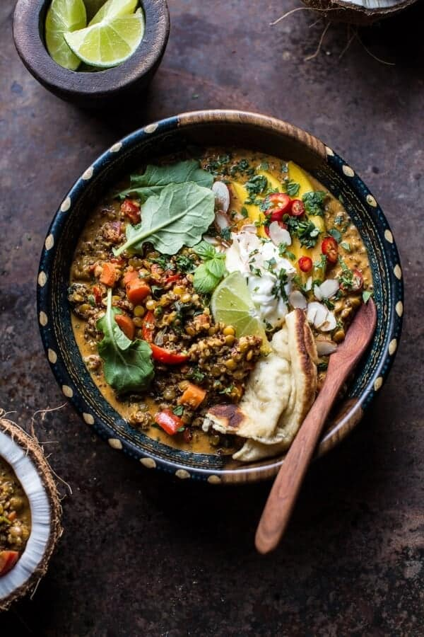 Simple Coconut Quinoa and Lentil Curry with Lime Mango.