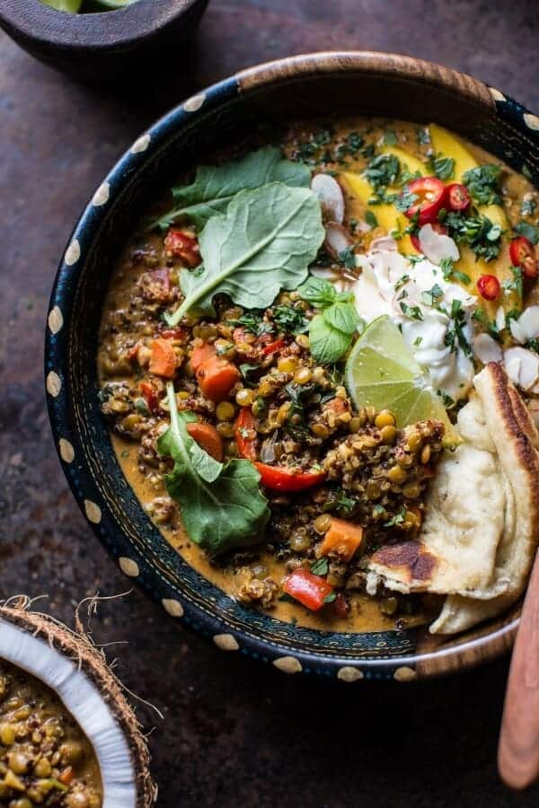 Simple Coconut Quinoa and Lentil Curry with Lime Mango | halfbakedharvest.com @hbharvest
