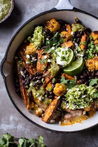 Sweet Potato and Black Bean Nachos with Green Chile Salsa | halfbakedharvest.com @hbharvest