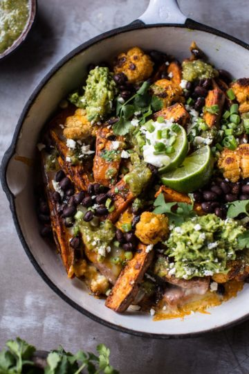 Sweet Potato and Black Bean Nachos with Green Chile Salsa.