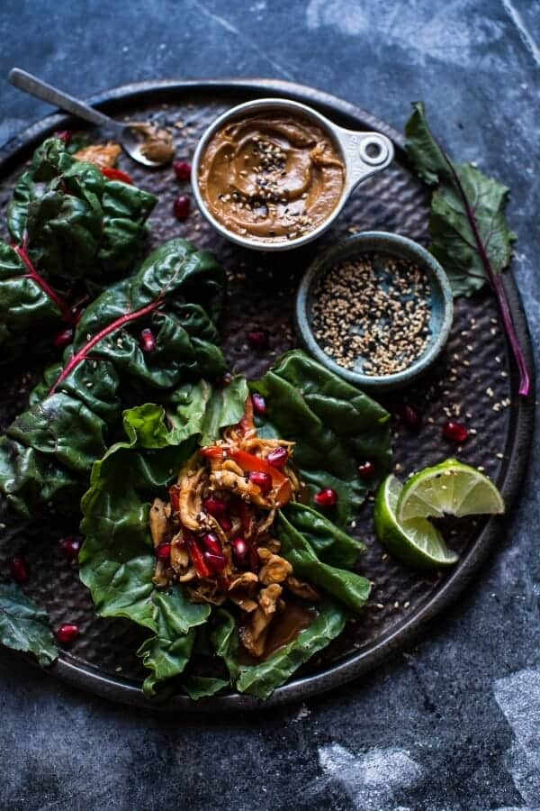 Sweet Thai Chile Chicken Swiss Chard Wraps with Peanut Ginger Sauce.