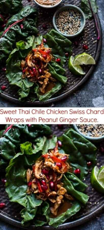 Sweet Thai Chile Chicken Swiss Chard Wraps with Peanut Ginger Sauce | halfbakedharvest.com @hbharvest
