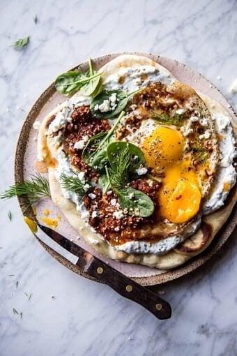 Turkish Fried Eggs in Herbed Yogurt | halfbakedharvest.com @hbharvest
