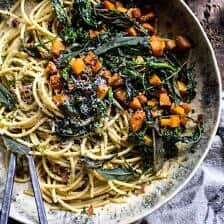 Winter Squash Carbonara with Broccoli Rabe and Sage.