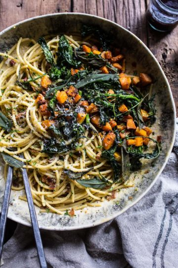 Winter Squash Carbonara with Broccoli Rabe and Sage.