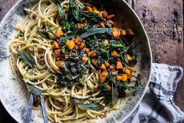 Winter squash carbonara with broccoli rabe and sage 71