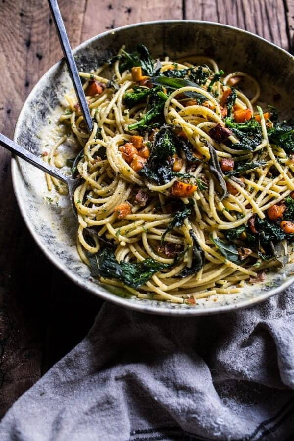 Winter Squash Carbonara with Broccoli Rabe and Sage | halfbakedharvest @hbharvest