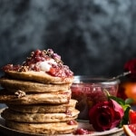 Coconut Quinoa Pancakes with Citrus Whipped Ricotta and Rosy Blood Orange Jam.