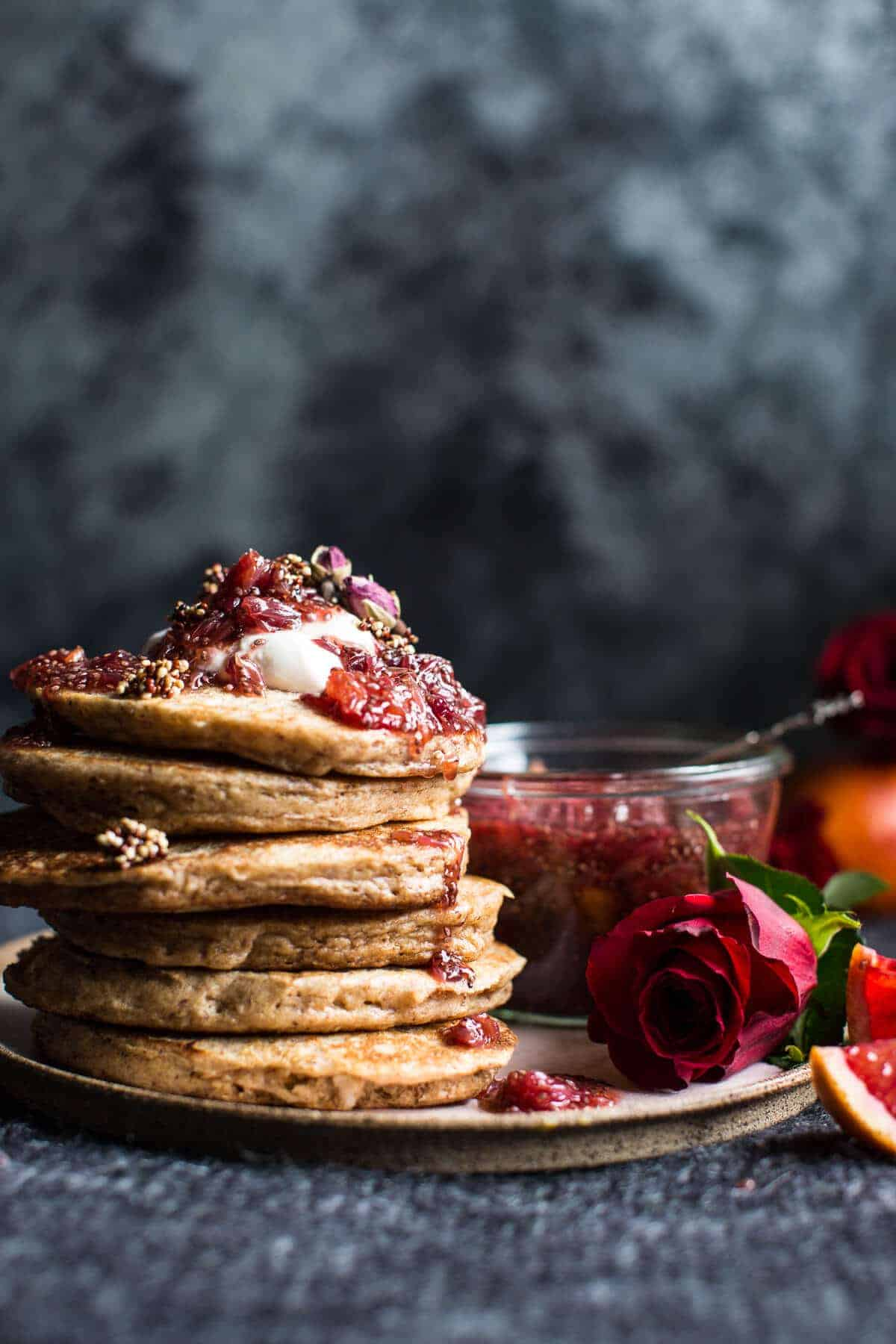 Coconut Quinoa Pancakes with Citrus Whipped Ricotta and Rosy Blood Orange Jam | halfbakedharvest.com @hbharvest