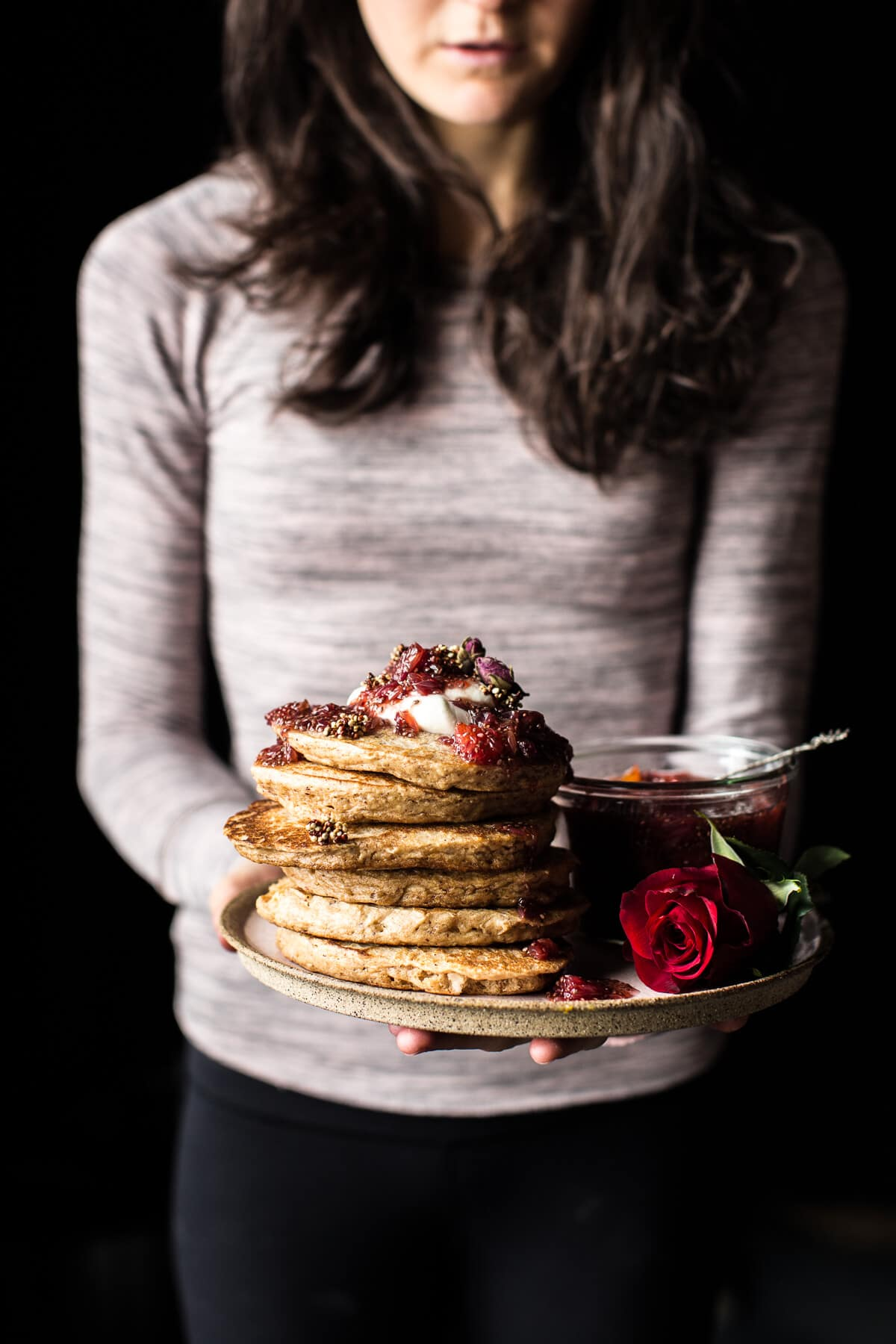 ... Quinoa Pancakes with Citrus Whipped Ricotta and Rosy Blood Orange Jam