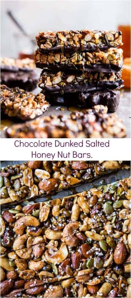 Chocolate Dunked Salted Honey Nut Bars | halfbakedharvest.com @hbharvest