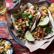 Jamaican Jerk Fish Tacos with Plantain Fried Rice and Pineapple Salsa.