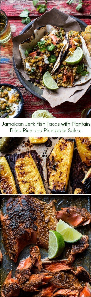 Jamaican Jerk Fish Tacos with Plantain Fried Rice and Pineapple Salsa ...