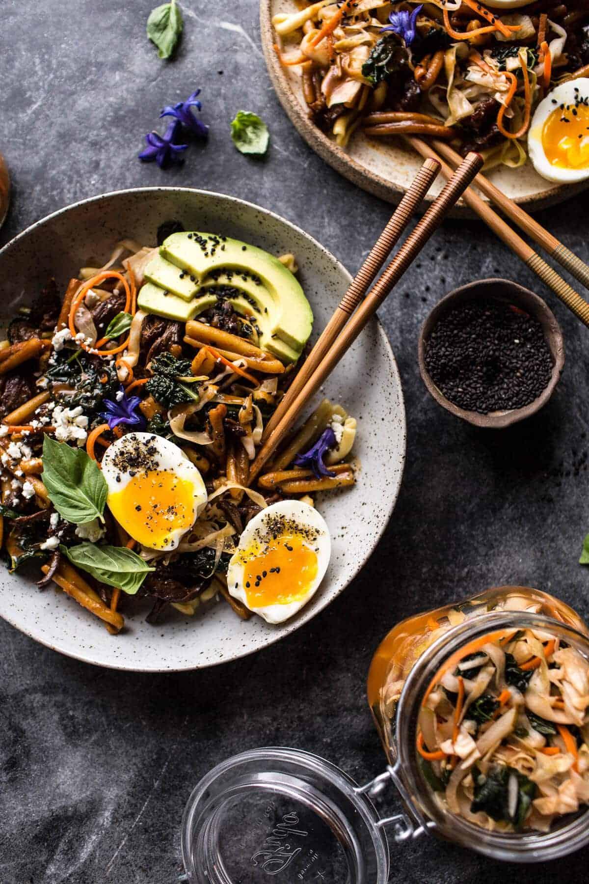 Korean Braised Short Rib and Kimchi Pasta | halfbakedharvest.com @hbharvest
