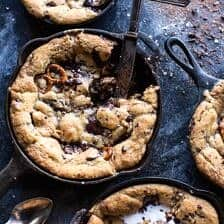 Secret Ingredient Peanut Butter Stuffed Chocolate Chip Skillet Cookie.