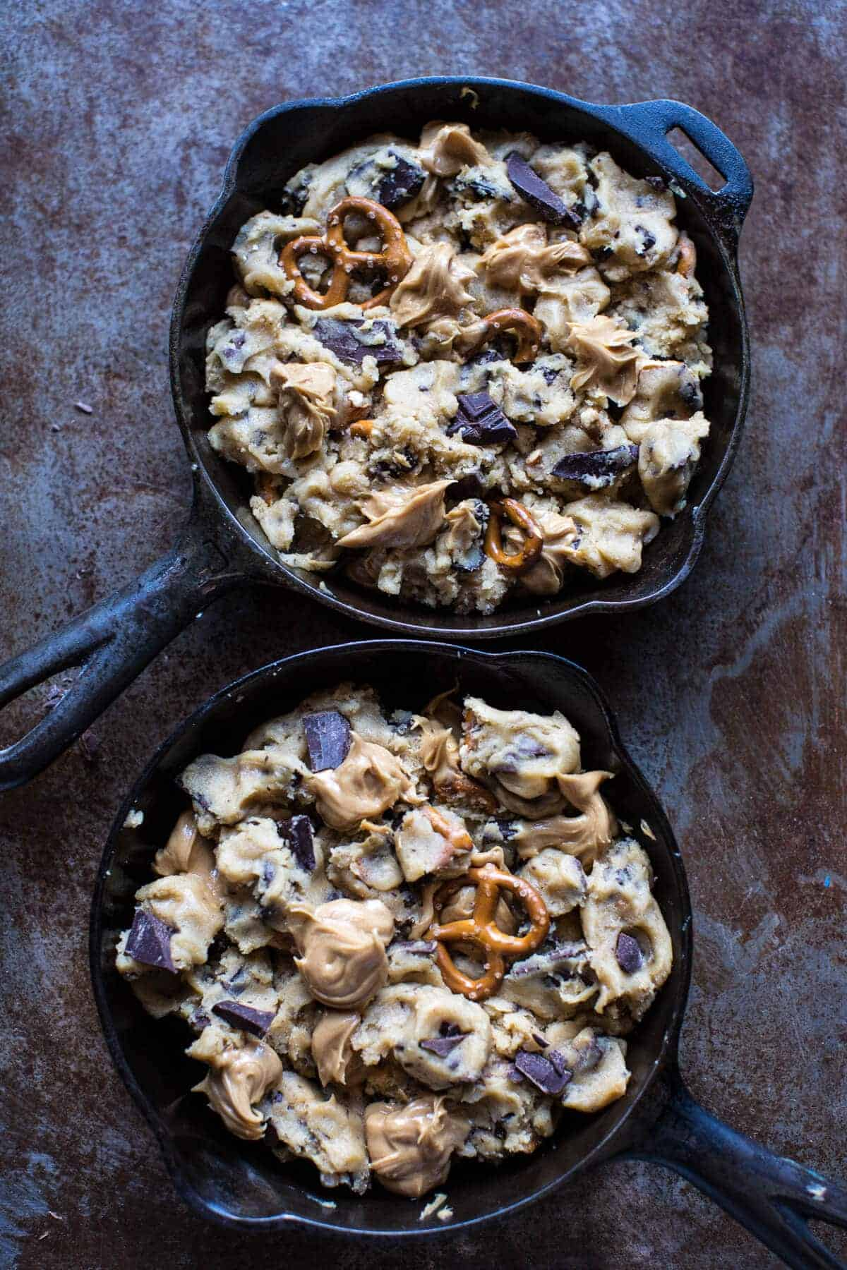 Skillet Baked Candy Bar Stuffed Double Cookie Recipes — Dishmaps
