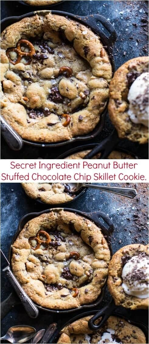 Secret Ingredient Peanut Butter Stuffed Chocolate Chip Skillet Cookie | halfbakedharvest.com @hbharvest
