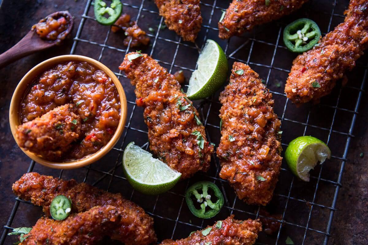 Sticky Mango Curry Oven Baked Boneless Wings | halfbakedharvest.com @hbharvest