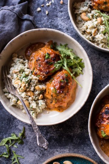 Sweet and Sticky 3 Ingredient Apricot Chicken (with Cauliflower Rice).