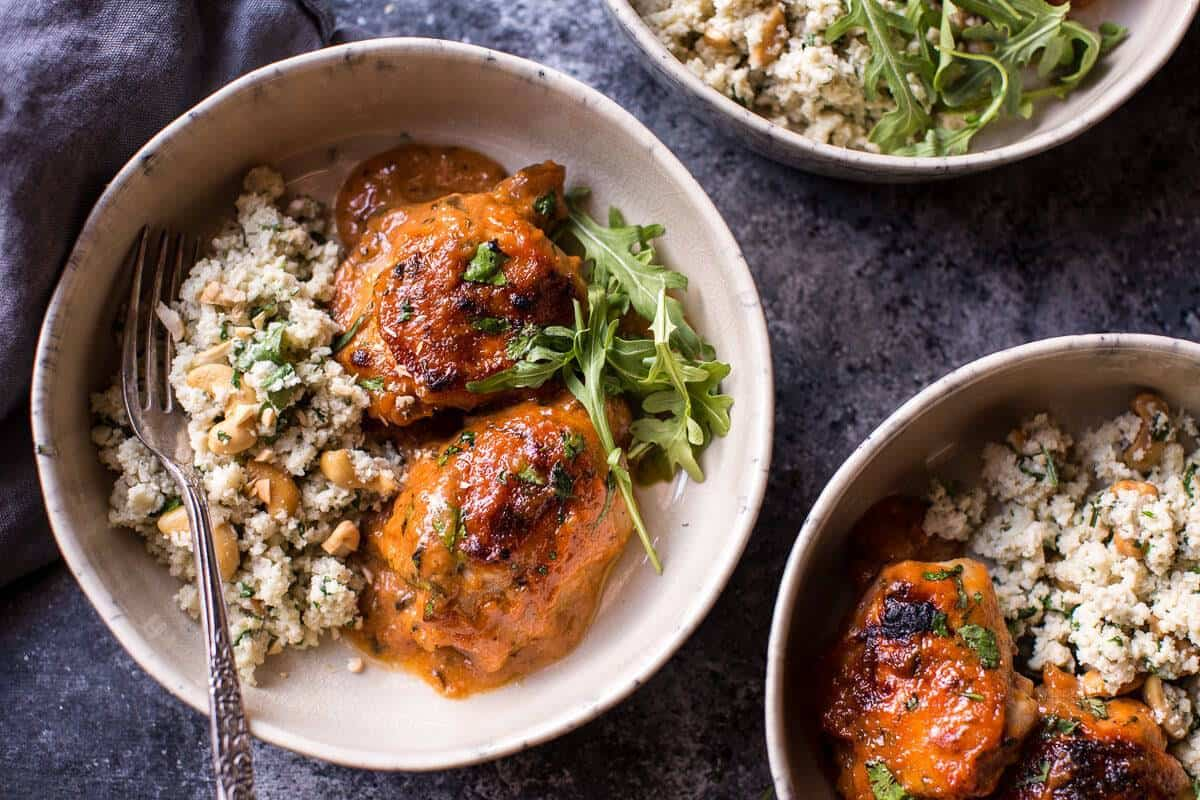 Sweet and Sticky 3 Ingredient Apricot Chicken (with Cauliflower Rice) | halfbakedharvest.com @hbharvest