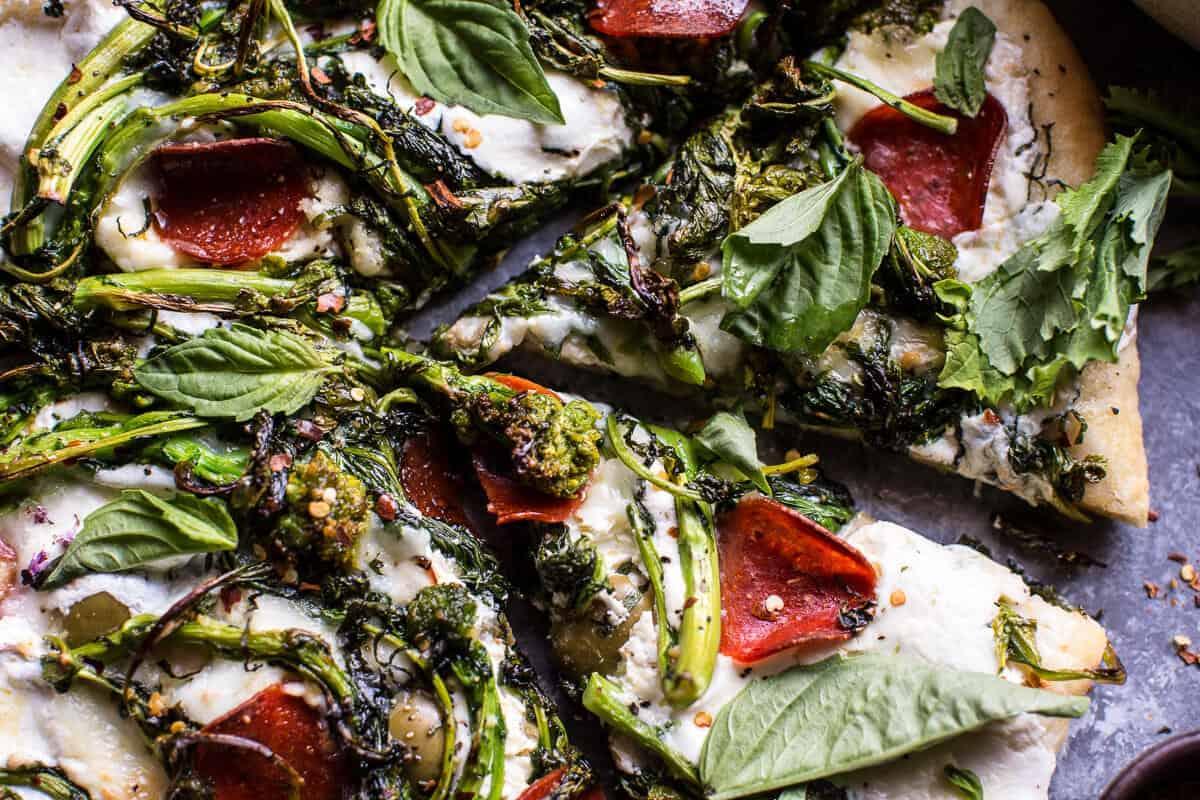 Broccoli Rabe Burrata Pizza | halfbakedharvest.com @hbharvest