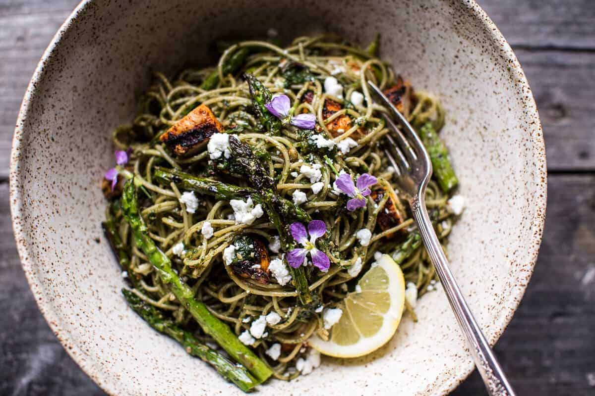 Charred Asparagus and Sunflower Seed Pesto Pasta with Blackened Lemon Chicken | halfbakedharvest.com @hbharvest