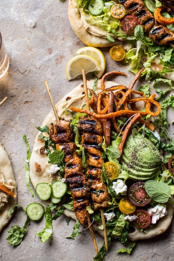 Chicken Shawarma Naan Salad with Sweet Potato Fries.