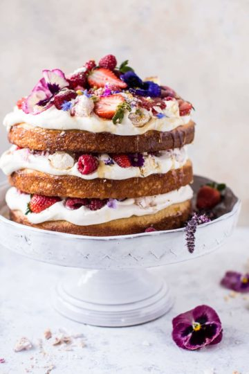 Coconut Eton Mess Cake with Whipped Ricotta Cream + Video.