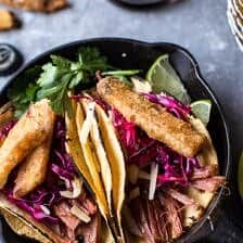 Corned Beef Tacos with Beer Battered Fries.
