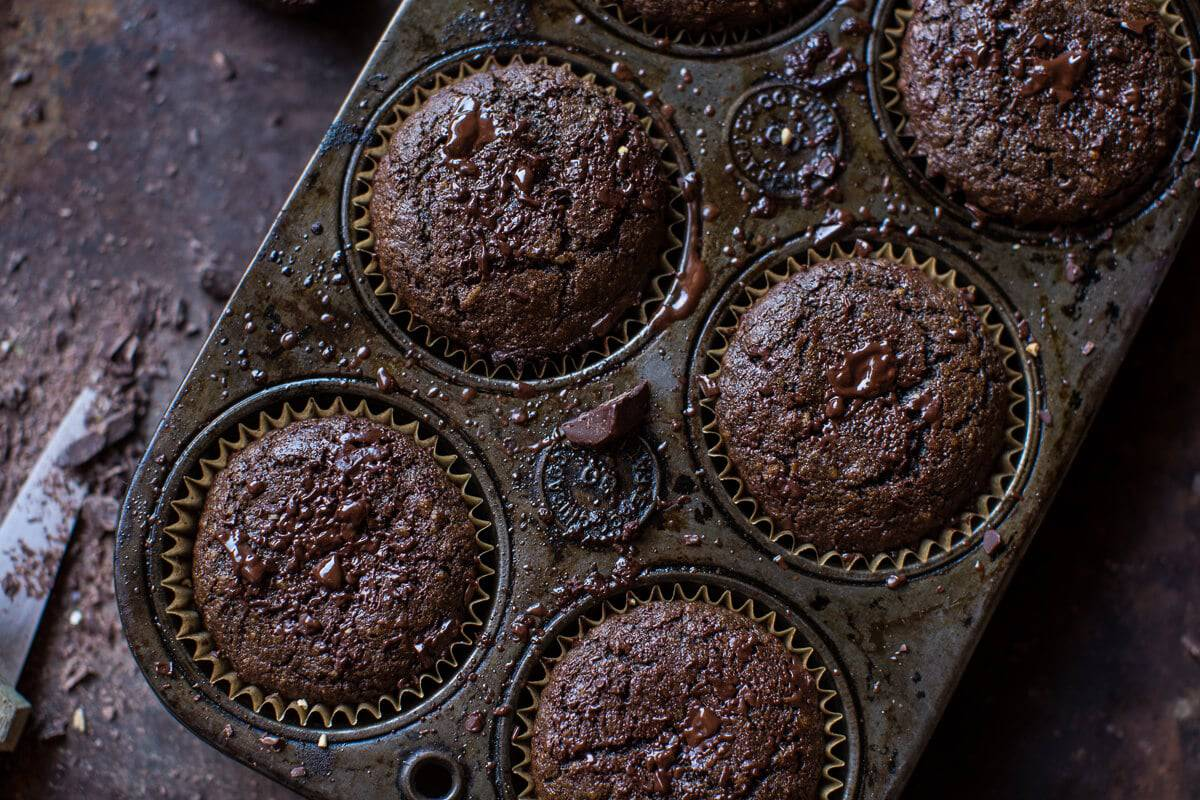 Double Chocolate Irish Tea Infused Oat Muffins | halfbakedharvest.com @hbharvest