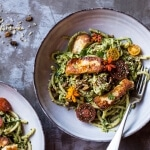 Green Goddess Zucchini Pasta with Fried Halloumi.