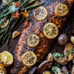 One Pan Lemon Roasted Salmon, Potatoes and Parmesan Asparagus | halfbakedharvest.com @hbharvest