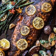 One Pan Lemon Roasted Salmon, Potatoes and Parmesan Asparagus.