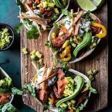 Salmon Fajita Salad Boats.