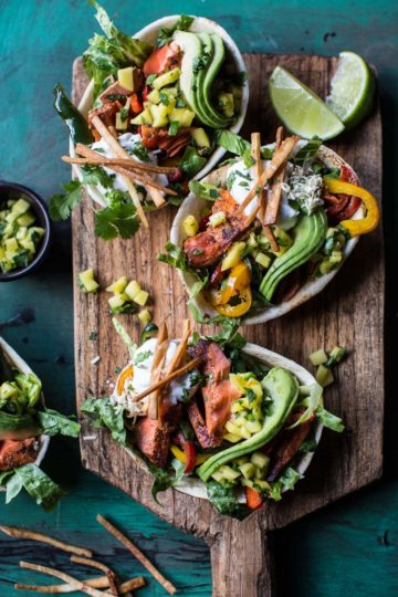 Salmon Fajita Salad Boats.