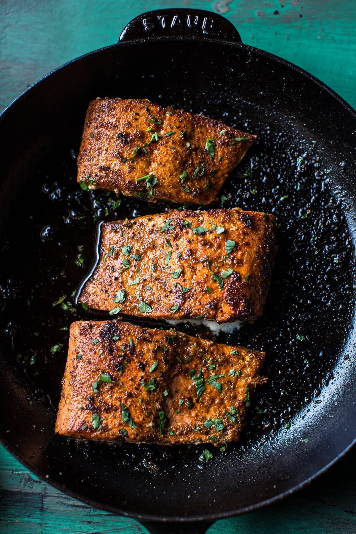 Salmon Fajita Salad Boats | halfbakedharvest.com @hbharvest