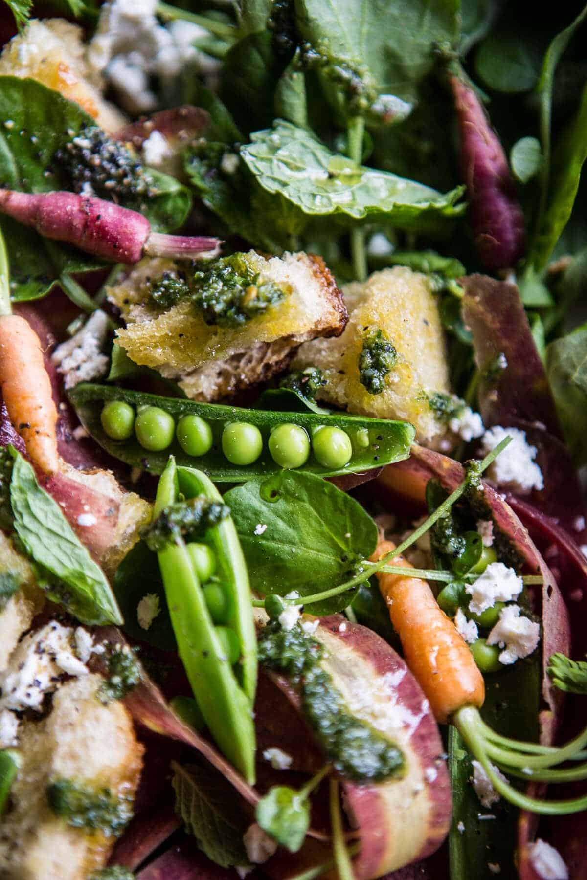 Spring Pea and Carrot Salad with Carrot Top Pesto   halfbakedharvest.com @hbharvest