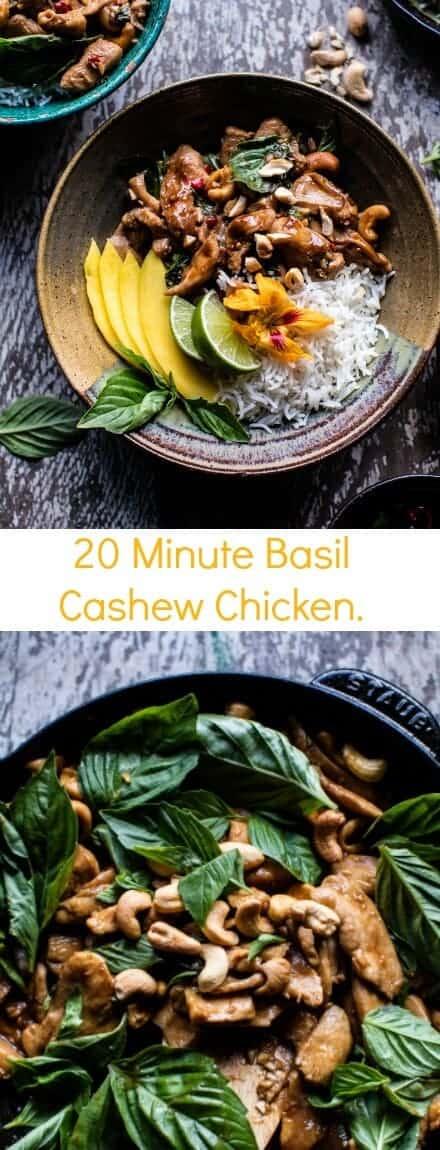 20 Minute Basil Cashew Chicken | halfbakedharvest.com @hbharvest