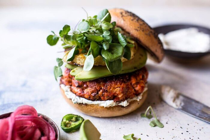 Blackened Salmon Burgers with Herbed Cream Cheese | halfbakedharvest.com #salmon #recipe #easy #healthy