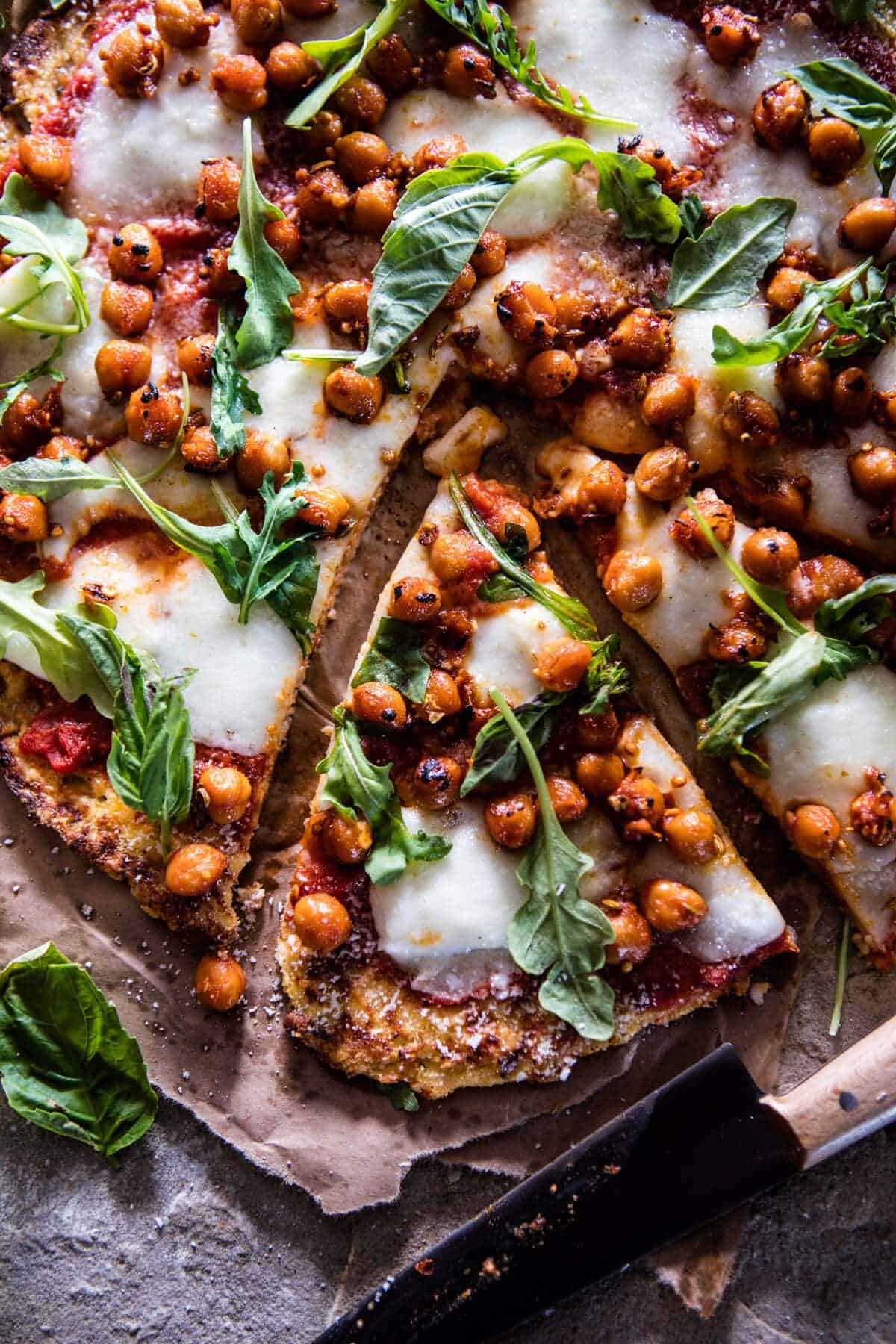 Cauliflower Crust Pizza with Chickpea Pepperoni | halfbakedharvest.com @hbharvest