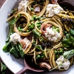 Simple Buttery Spring Pea and Burrata Pasta with Prosciutto.
