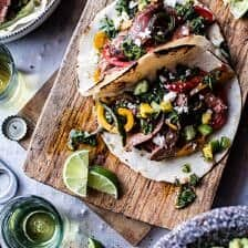 Steak Fajitas with Chimichurri and Cucumber Salsa.
