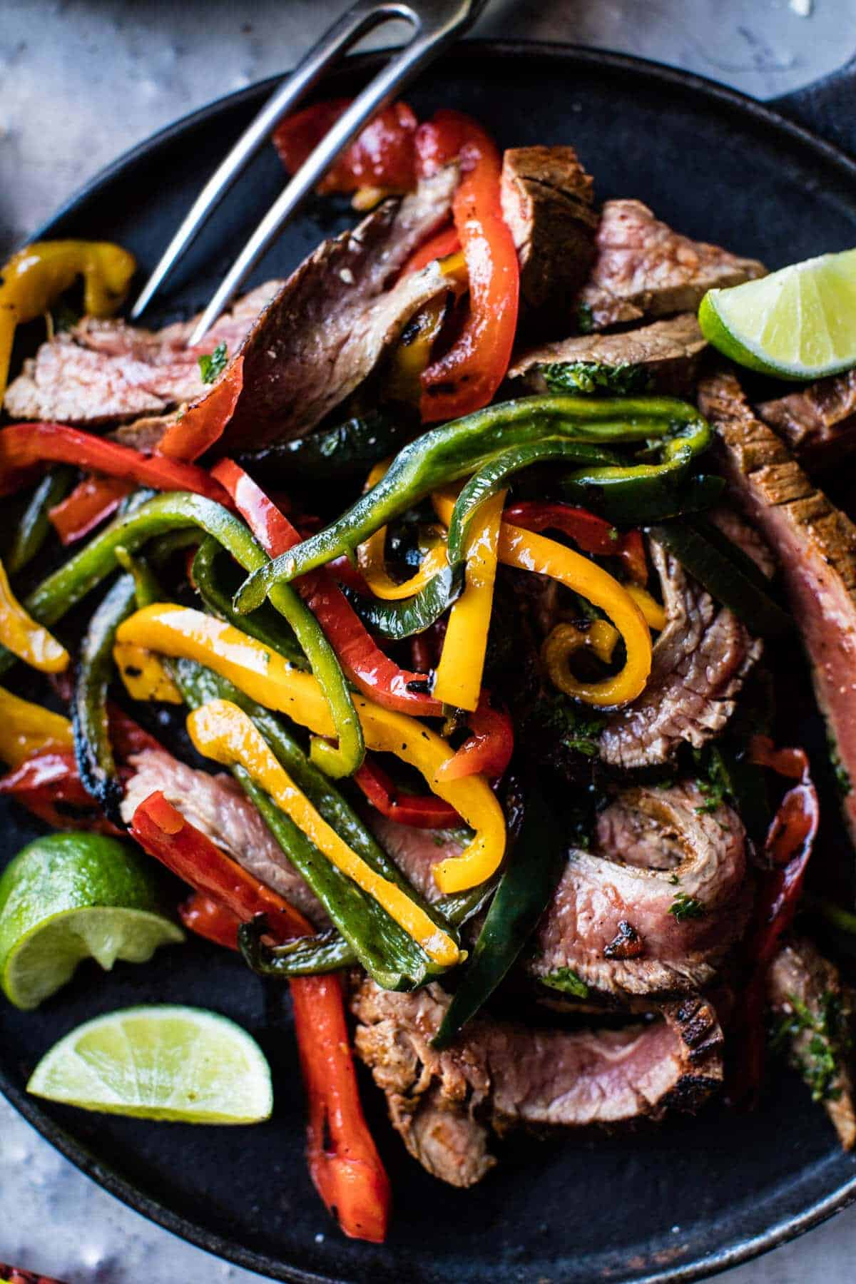 Steak Fajitas with Chimichurri and Cucumber Salsa | halfbakedharvest.com @hbharvest