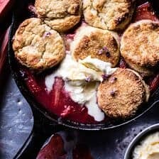 Strawberry Rhubarb Cobbler with Honey Butter Biscuits.